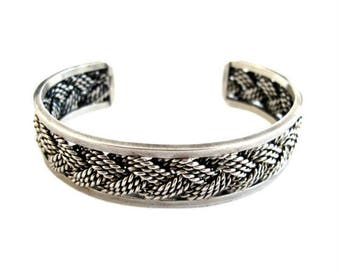 Sterling Silver Cuff Bracelet with Braided Design