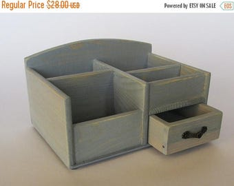 ON SALE Wooden Desk Organizer Office Organizer Pencil Cup  Caddy Tools Office Supplies Holder Home Decor  Distressed Finish Light Blue Color