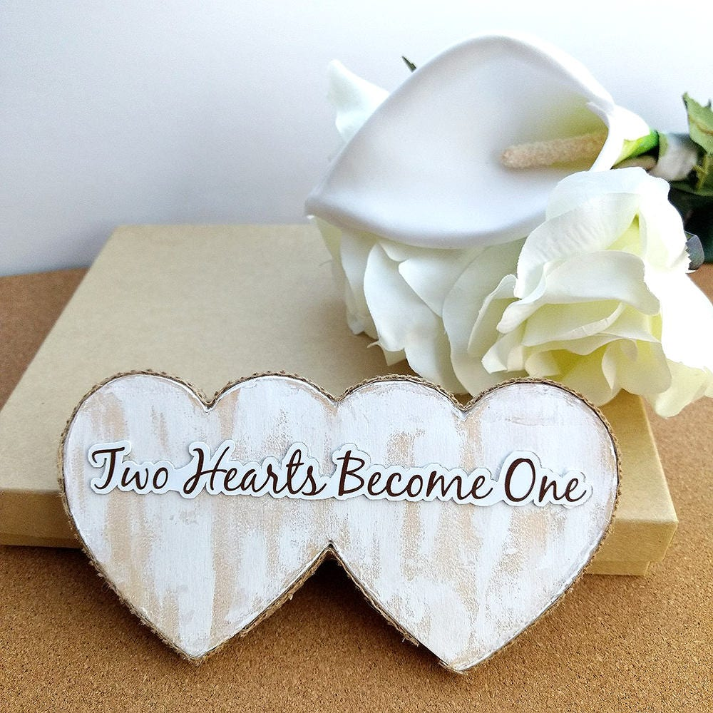 Wedding Cake Topper Rustic Heart Topper Two Hearts Become One