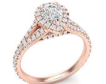 Rose Gold Engagement Ring Pear Shape Halo Ring .57 ct Rounds Semi Mount for .50 ct Pear Shape 7x5 Brand New 14K Setting Only Or Moissanite