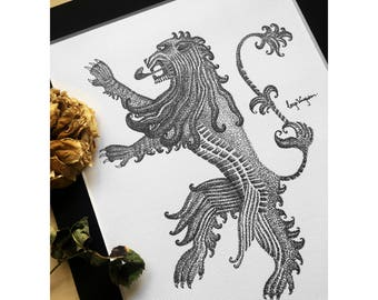 Game of Thrones Lannister Lion Dotwork Art Print - Drawing of A Song of Ice and Fire Pen and Ink Sigil, Traditional Art