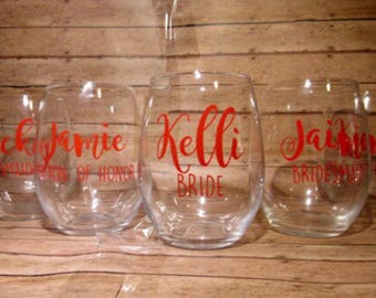 Personalized  Stemless Wine glass. Gift for Bridesmaid, Gift for her, bachelorette party wine glass, Maid of Honor wine glass