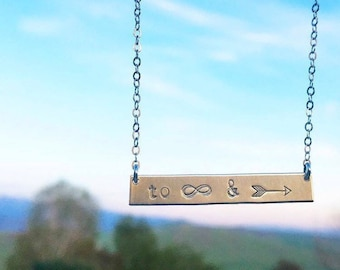 Sterling Silver Hand Stamped Rectangle Necklace with your choice of word, initial, numbers, or symbols and chain length