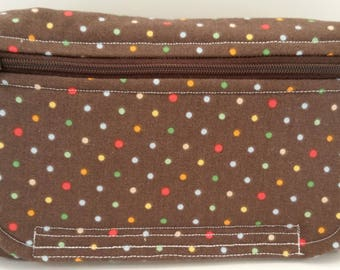 Red, Yellow, Green, White, Gold Polka Dot Print Fanny Pack