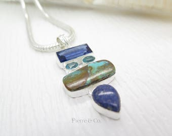 Turquoise Lapis Lazuli Blue Topaz Sterling Silver Pendant and Chain