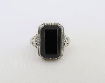 Vintage Sterling Silver Natural Black Onyx Filigree Ring Size 9