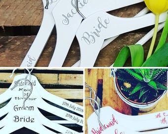 Bridal party hangers, wedding dress hanger, brides tribe, bridal party hangers, wedding dress hanger, personalised hangers, SET OF 4