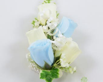 Artificial Wedding Flowers, Baby Blue & Ivory Rose Wrist Corsage