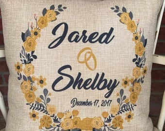 Personalized Faux Burlap Pillow Case,Personalized Wreath Pillow, Personalized Wedding Gift, Personalized Anniversary Gift, Mothers Day Gift