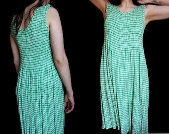 vintage plaid green & white tank top flowy summer sundress • size L / XL • long skirt gingham print dress • comfy cotton summer dress