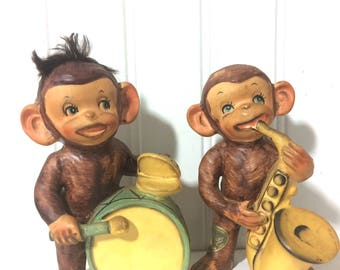 Vintage Musical Monkey Figurines