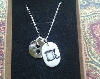 SEWING NECKLACE, porcelain handmade cotton & needle pendant.