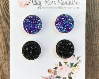 12mm druzy earring set, black druzy earrings, druzy earrings in silver