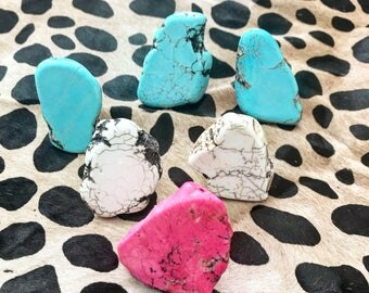 Turquoise slab rings, slab rings, pink slab ring, white slab ring