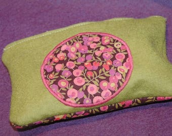 Floral fabric and green felt pouch/clutch