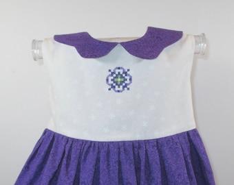 FREYA - Tea Party Dress - Size: 9-12 months, Purple, White, Baby Girls' Clothing, Dresses, Baby Girl Dress, Birthday, Gift, Cotton, Handmade