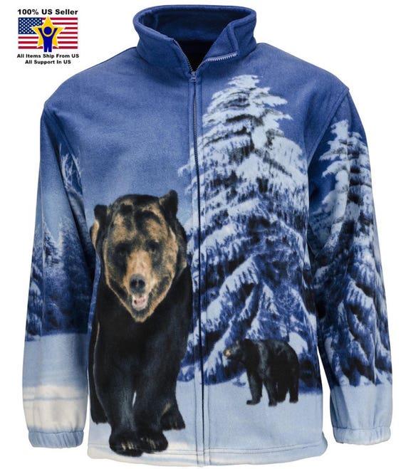 ZooFleece Blue Bears Fleece Jacket Wildlife Gift Birthday Ugly