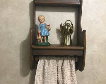 Vintage Brown Wooden Wall Shelf with Towel Holder