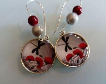 earring dangle poppy cabochon