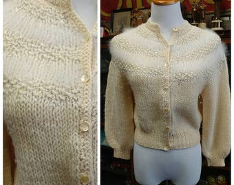 Clearance *** Gorgeous Vintage Cream Sweater with Silver Threads and Angora
