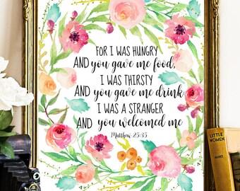 Matthew 25:35, Bible psalm, Bible quote, Bible Verse, Bible printable, Bible print, Bible wall art, nursery printable, motivation wall art