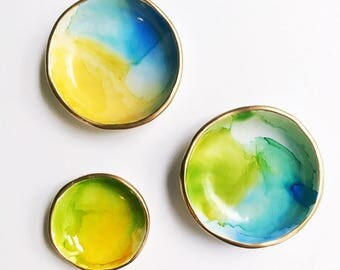 WATERCOLOR // Polymer Clay Ring Dish, Jewelry Dish, Trinket Dish