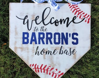 Personalized Baseball Home Plate Sign