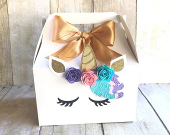 Unicorn boxes, Unicorn Gable boxes, Unicorn treat bags, Goodie Bags, Unicorn party, Unicorn Theme, Unicorn favor Bags, favor boxes
