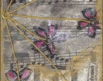 Giclee art print - canvas - Phlox,- David Flower - Friendship -Mixed Media- Archival Quality - wall decor - Gold - Music - Bach