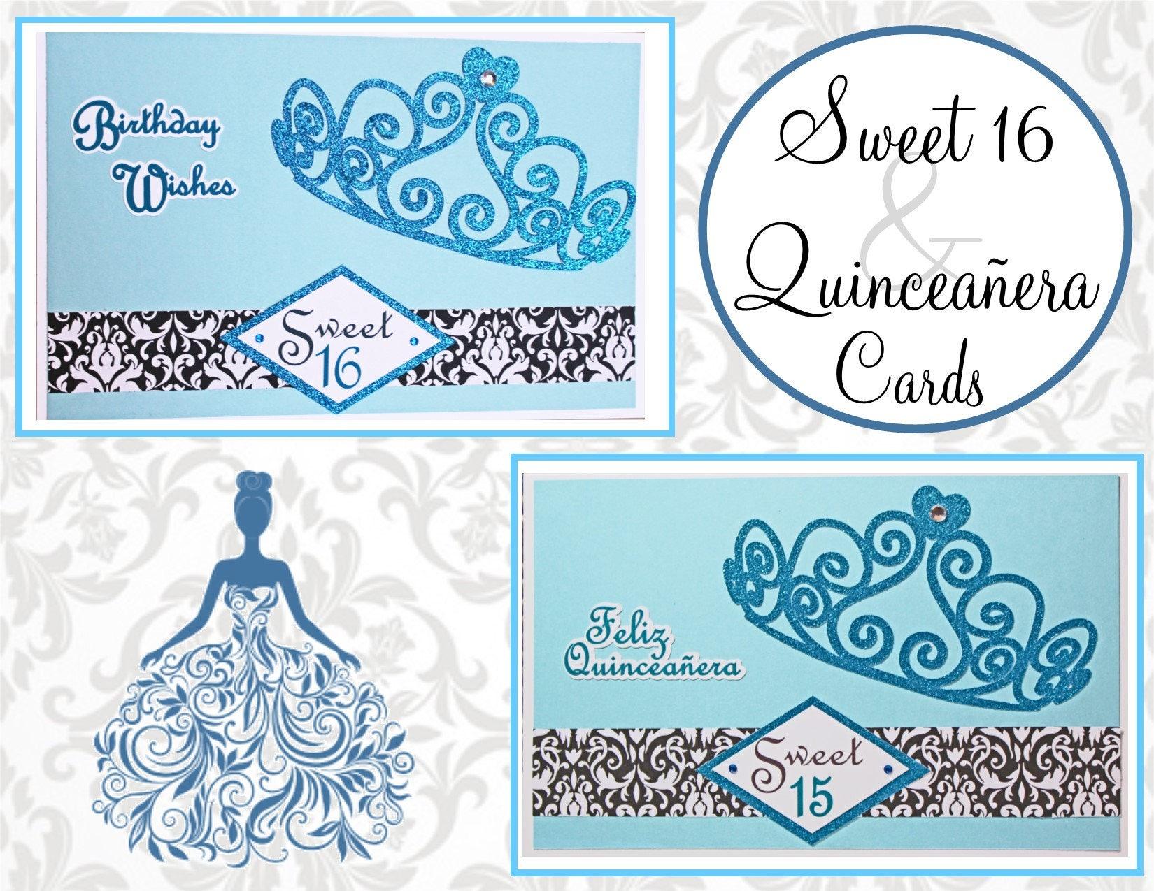 Custom Sweet 16 Quinceanera Handmade Birthday Card Tiara Card