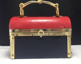 Rosenfeld Red & blue box purse 1970s Made in Italy