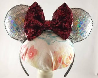 Sparkly Silver Epcot Spaceship Earth Food and Wine Inspired Minnie Mouse Ears Headband