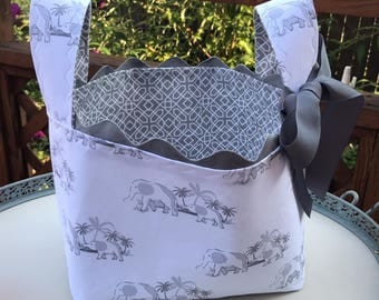 Elephant Nursery Basket, Diaper Basket, Baby Shower Basket, Baby Gift, Storage, Organization