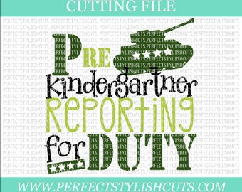 Reporting For Duty PreK SVG, DXF, EPS, png Files for Cutting Machines Cameo & Cricut - Back To School Svg, 1st Day Of School Svg, Kinder Svg