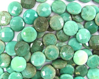 "15mm faceted green chrysoprase coin beads 7.5"" strand 32065"