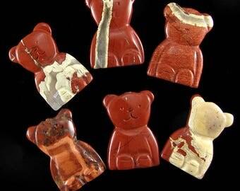33mm red jasper carved bear pendant bead 1pc 15044