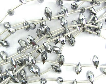 "6x12mm faceted quartz teardrop beads 15.5"" strand silver 17394"