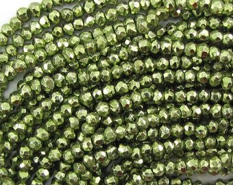 "3mm faceted green pyrite rondelle beads 13"" strand 33381"