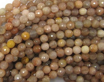"6mm faceted sunstone round beads 15.5"" strand 33820"