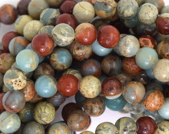 "6mm brown blue sea sediment jasper round beads 15.5"" strand 35695"