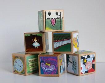 6 Alice in Wonderland Wooden Blocks