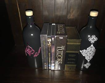 White and black wine bottle