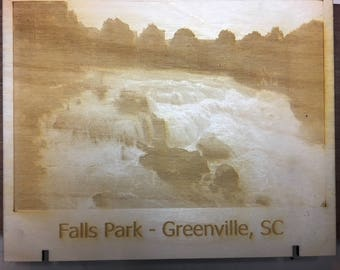 Laser Engraved Wood Falls Park Photo
