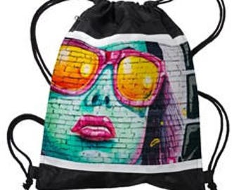 "Drawstring Backpack ""Pink Sunglasses"""