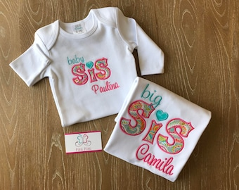 Baby Sis Big Sis Set / Big Sister Baby Sister Shirt Onesie or Gown