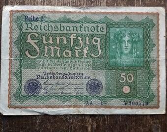 Old Germany Funfzig 50 Mark Banknote 1919,Old German Banknote 50 mark