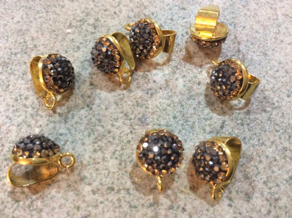 2 pieces gunmetal and gold pave bail for pendants diy jewelry