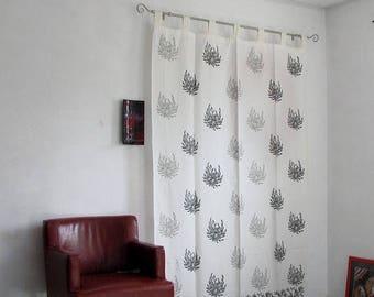 ON SALE Hand block printed cotton tab top curtains,loop curtains,boho ,bohemian print,monochrome.