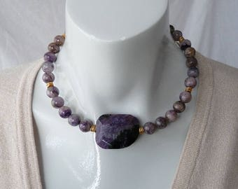 Russian charoite choker - purple - gold - GemChristina CHA4334