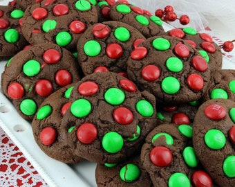 1 Dozen Double Chocolate Cookies w/ Themed Chocolate Candies